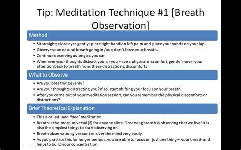 Detox Meditation Mantra by Tip 6 Meditation Technique 1 Breath Observation Work