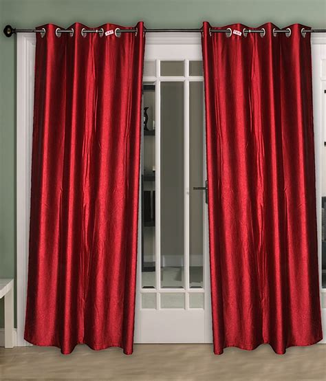 red satin curtains home aid red satin curtains pack of 2 solid red buy home