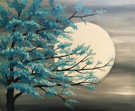 paint nite the tree paint nite teal tree in moonlight