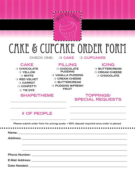 Sweet D S Cakery Download Our Order Form Here Custom Cake Order Form Template