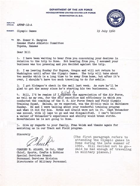 letter of appreciation letter of appreciation from usaf to bill hargiss 1960