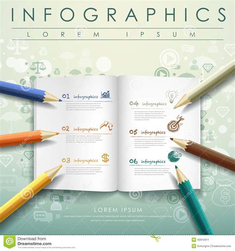 Creative Template With Colored Pencil And Book Stock