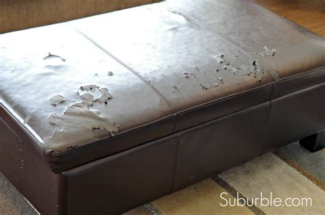 how to cover a storage ottoman with fabric the no sew way to recover an ottoman suburble