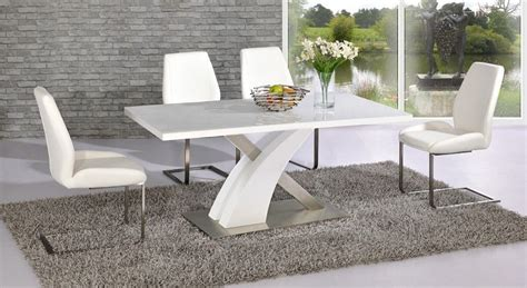 White Gloss Dining Table And Chairs White High Gloss Glass Dining Table And 4 Chairs Homegenies