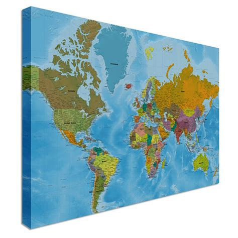 detailed world map full colour countries wall art canvas