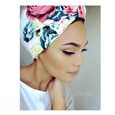 tutorial model turban floral turban hijab fashion pinterest floral turban