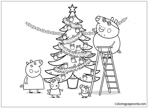 peppa pig christmas tree coloring page  coloring pages
