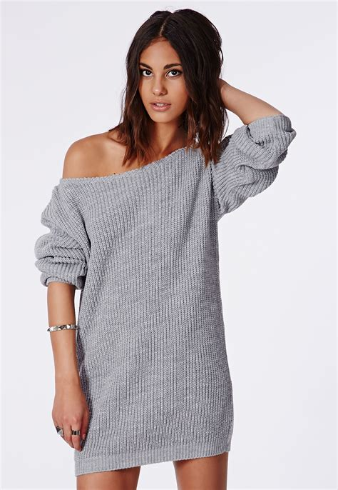 knitted sweater dress missguided shoulder knitted sweater dress grey in gray