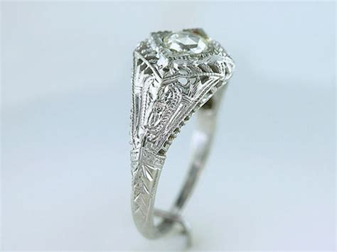 vintage antique 26ct rose cut diamond 18k white gold art