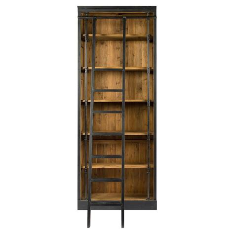 Ashlyn Rustic Lodge Pine Wood Metal Ladder Bookcase Wood Ladder Bookcase