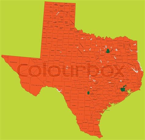political map of texas highly detailed vector map texas of with administrative regions cities and roads stock