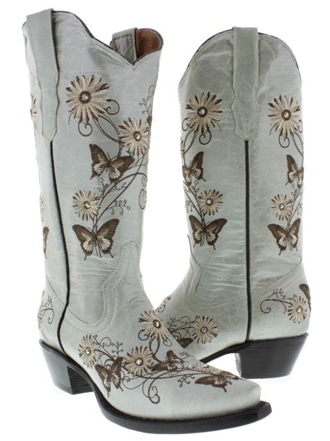 Sp Boot Flower White s white butterfly flowers leather western cowboy boots rodeo ebay