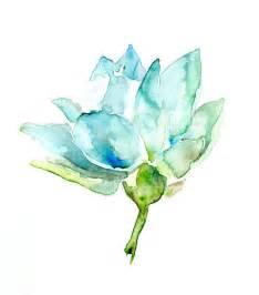 Watercolour Lotus Original Lotus Watercolor Painting Lotus Fower Zen Blue