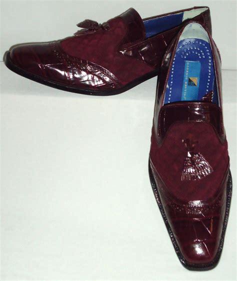 mens slip on shoes burgundy wine color suede