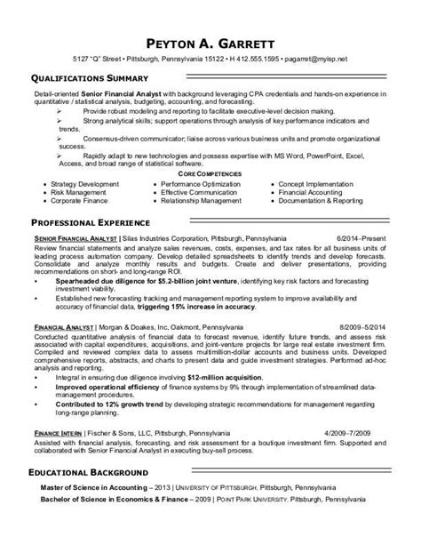 Finance Resume by Financial Analyst Resume Sle