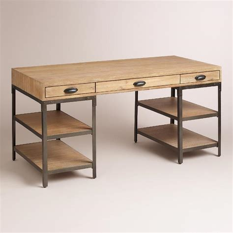 metal and wood desk with drawers wood and metal desk