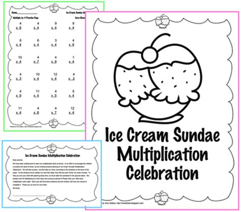 multiplication sundae template sundae multiplication celebration