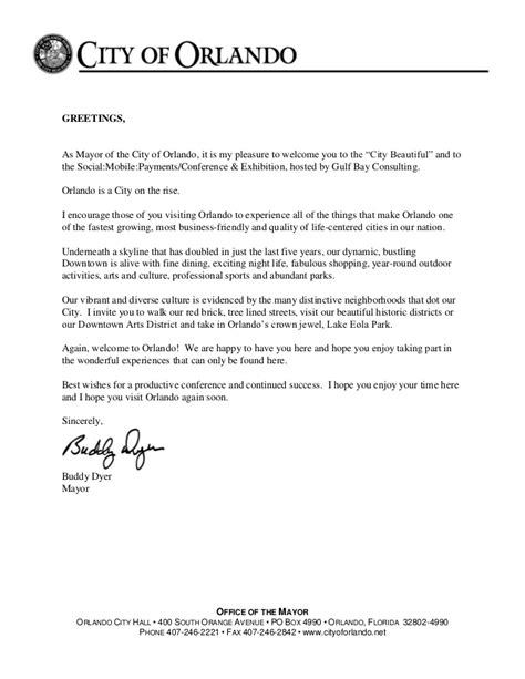 conference welcome letter template social mobile payments welcome letter from orlando mayor