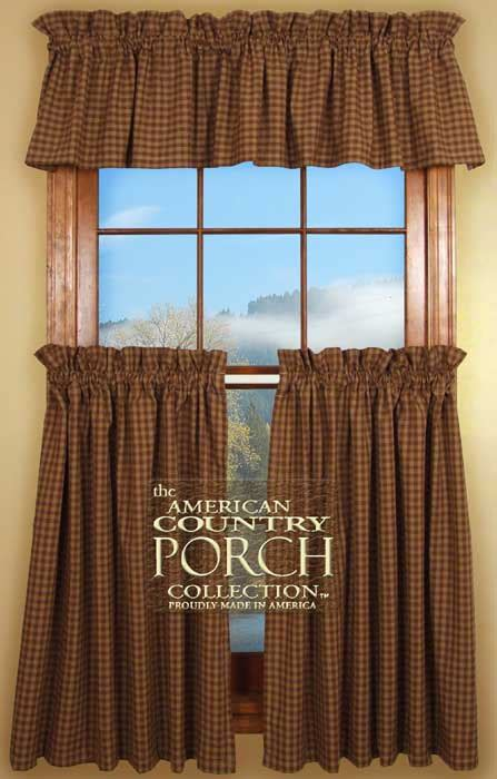 brown check curtains cottage brown check curtain valances
