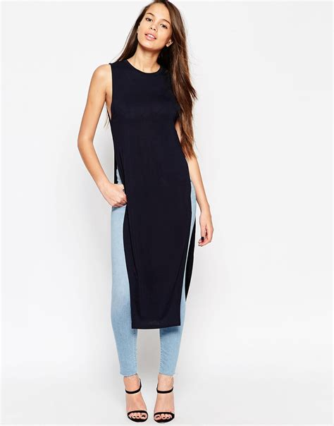 Maxi Tunic asos maxi tunic top with side splits in blue navy lyst