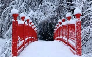 Winter season snow trees red bridges hd dekstop wallpapers winter