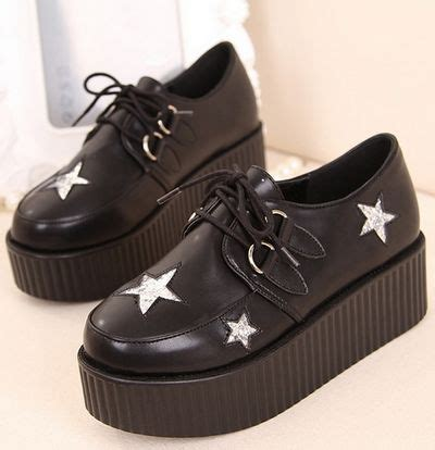 pattern black shoes star pattern black platform shoes on luulla