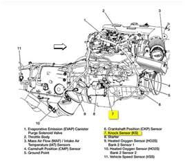 where is the knock sensor located on a 2002 silverado 4 3l v6 w