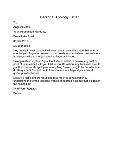 Sarcastic Apology Letter To Letter Of Personal Apology Sarcastic Apology Letter 30 Personal Letter Templates Free Sle