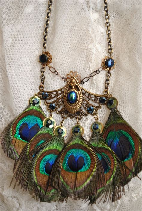 Handmade Statement Jewelry - peacock feather statement necklace handmade ooak by