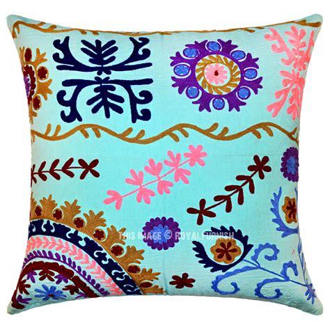 24 Decorative Pillows by 24 Quot Inch Turquoise Decorative Accent Uzbek Suzani