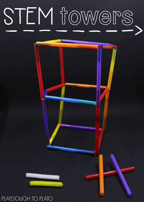 straw tower challenge stem challenge build with straws playdough to plato