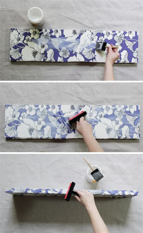 How To Decoupage With Fabric On Wood - how to decoupage fabric onto shelves mod podge rocks