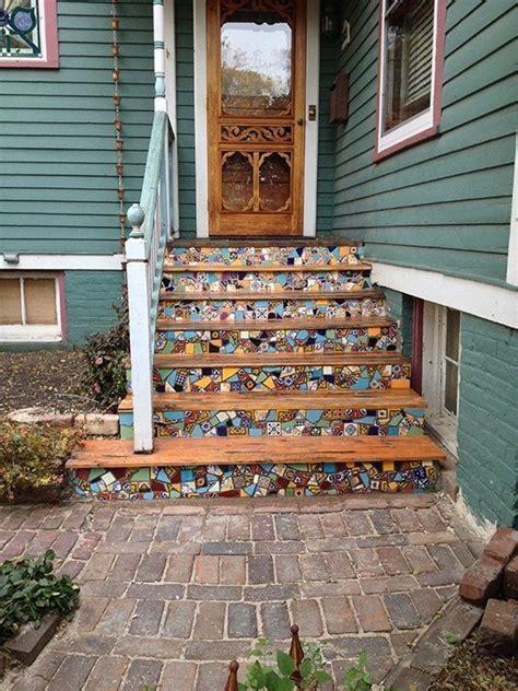 custom  custom mosaic wood front steps front steps