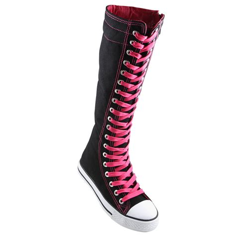 knee high sneakers kid s knee high top sneakers canvas lace up shoes