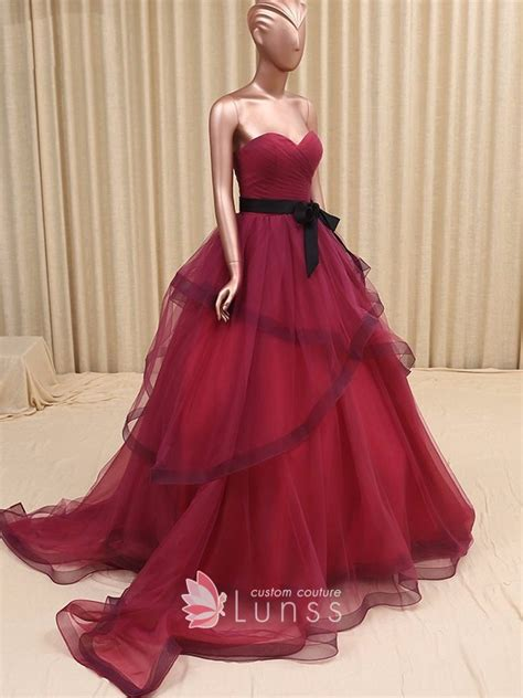 Maroon Just A Pleated Dress strapless sweetheart pleated maroon tulle gown prom