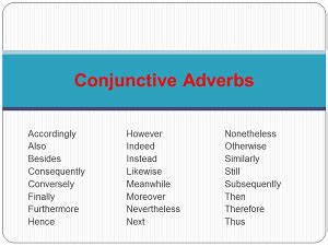 using types of conjunctive adverbs | study.com