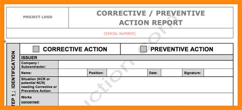 corrective report form template 25 images of corrective form template excel