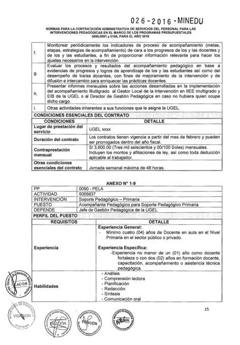 normas de contratacion docente 2016 minedu rsg n 176 026 2016 minedu norma para contratar acompa 241 antes