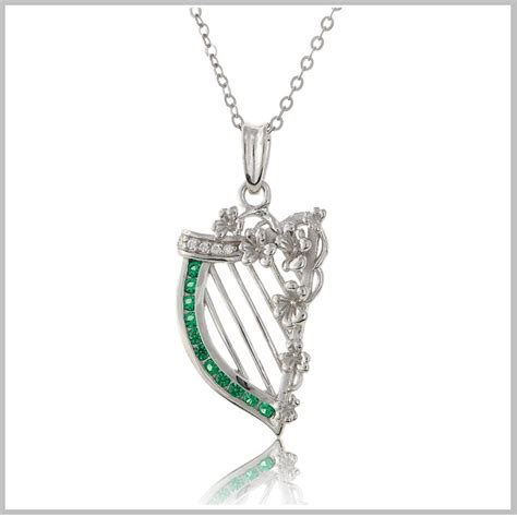 harp jewelry harp necklace sterling silver