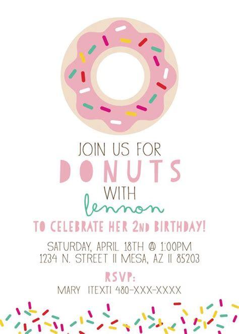 Donut Birthday Party Invitation Doughnut Custom Colors Available Party Ideas Pinterest Free Donut Invitation Template