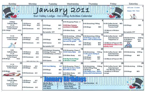 activity calendar january assisted living activity calendar welcome to sun
