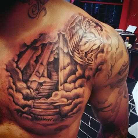 tattoo on upper chest 80 cloud tattoos for men divine dwelling designs cloud
