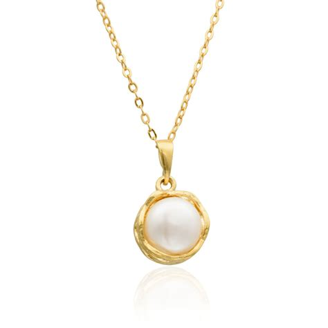 Handmade Gold Pendants - gold filled 14k necklace pearl pendant handmade jewelry