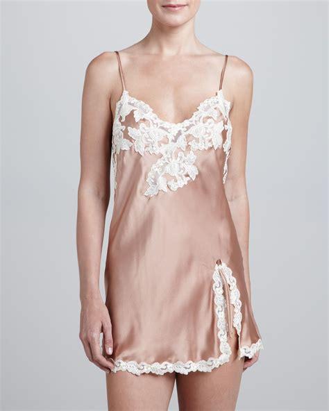 la perla maison stretch silk robe 8lutfyhw lyst la perla maison satin chemise in