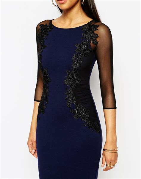 sheer sleeve bodycon dress lipsy lace applique bodycon dress with sheer sleeve in
