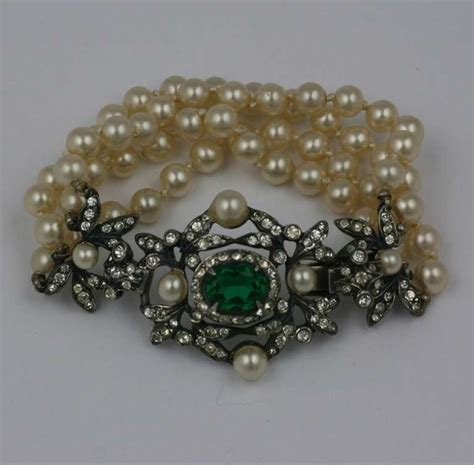 Cliff Charm Bracelet castlecliff early paste and pearl bracelet for sale at 1stdibs