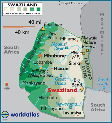 swaziland map swaziland large color map