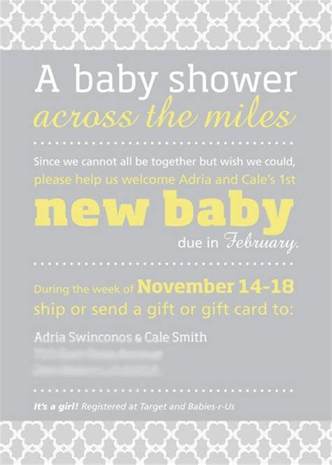 Distance Baby Shower Invitations by Distance Baby Shower Invitation Wording 9010