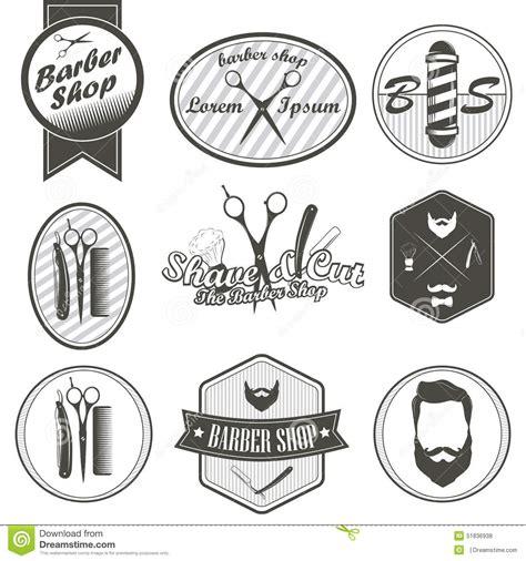 Sisir Barbershop set of vintage barber shop emblems label badges stock
