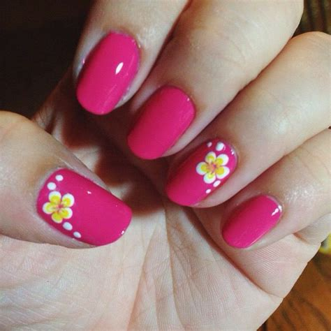 hawaiian plumeria flower nail art  fuchsia nails